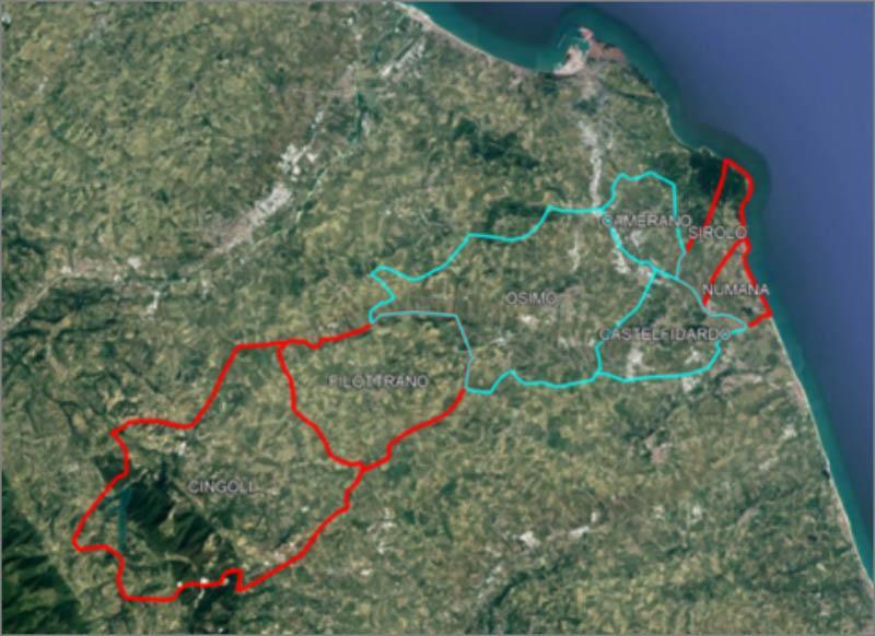 Fig. 2 - Basin of the municipalities through the Castreccioni pipeline.