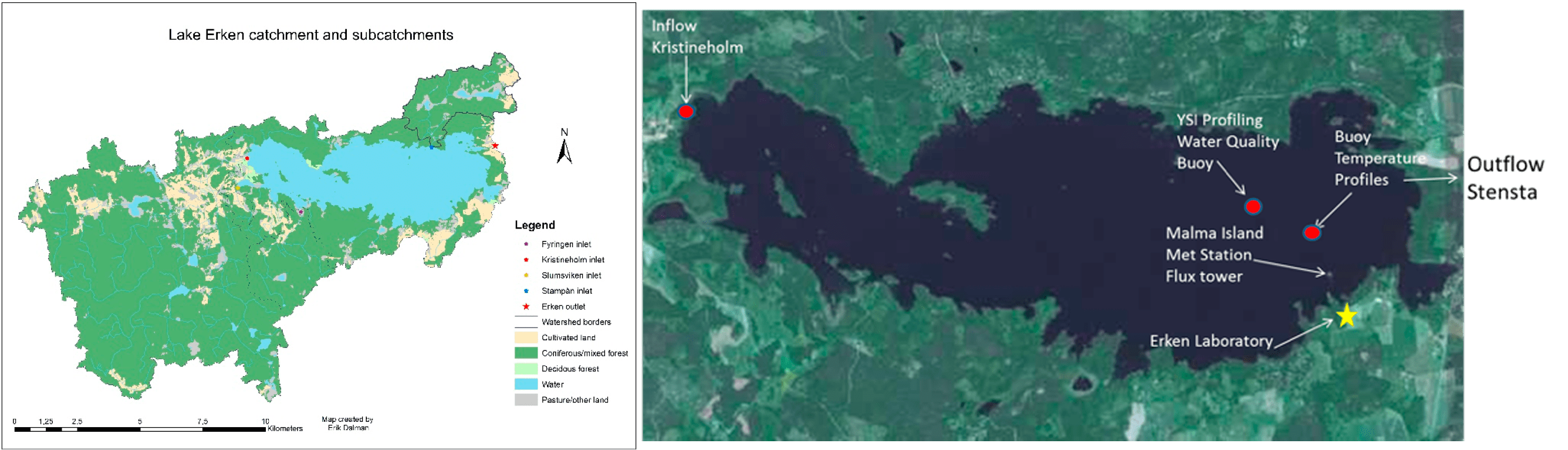 Figure 1 - Maps Lake Erken catchment and subcatchments